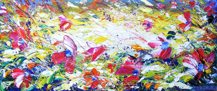 """Wildflowers meadow summer art - """"The Caress"""" - Image 0"""