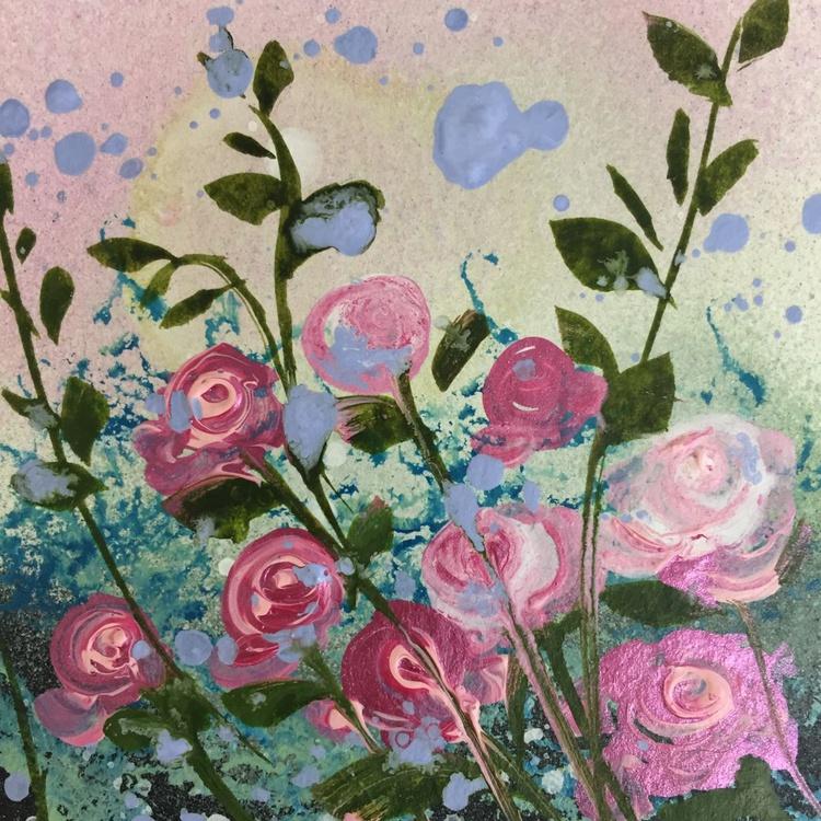 Pink roses, box framed miniature - Image 0