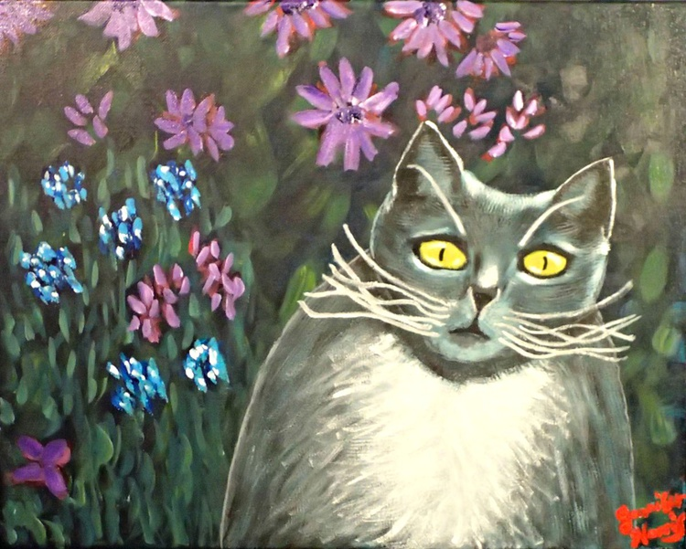 Grey Kitty with Flowers - Image 0
