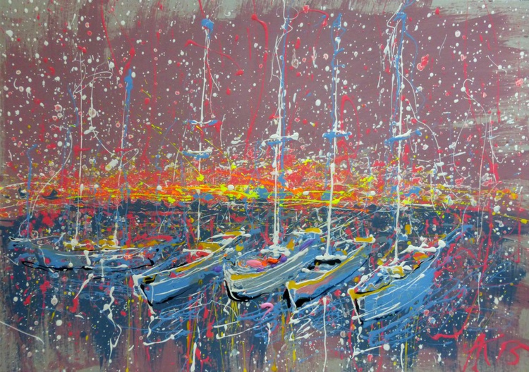 Evening Yachts, large painting 100x70 cm - Image 0