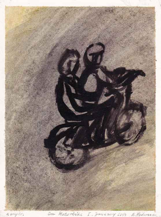 On Motorbike I. - Na motorju I., January 2014_acrylic on paper 26,7 x 20 cm