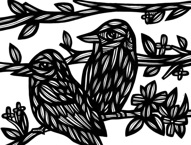 Two Birds on Branch Original Drawing -