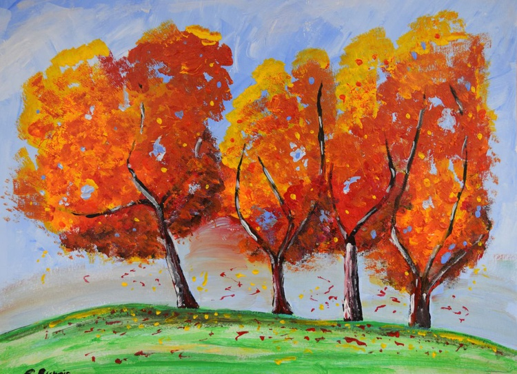 Beautiful Autumn Trees with falling leaves - Image 0