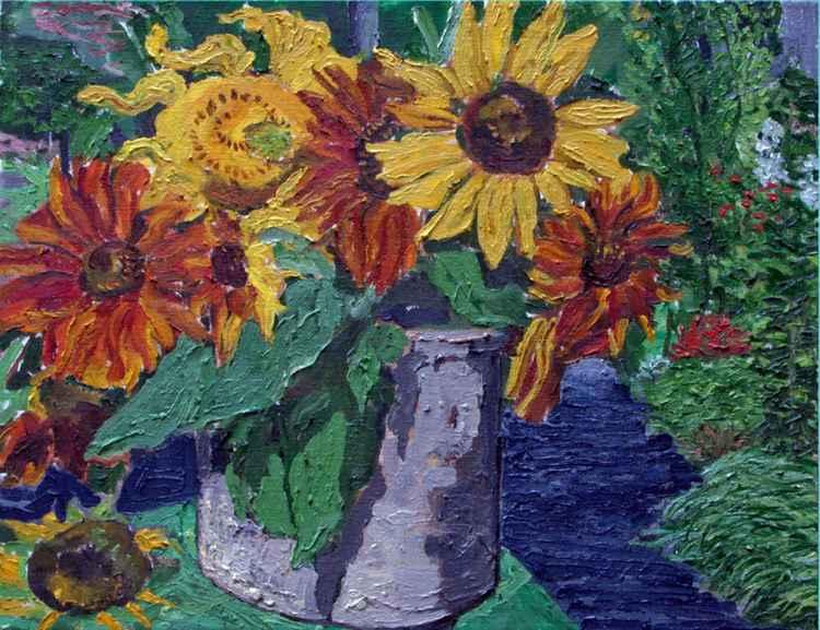 ' Crock of Sunflowers '