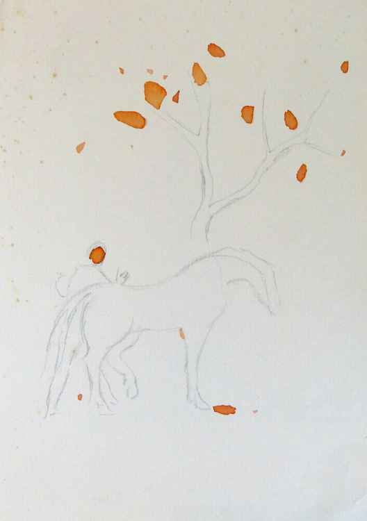Promenade with the Horse, 21x29 cm