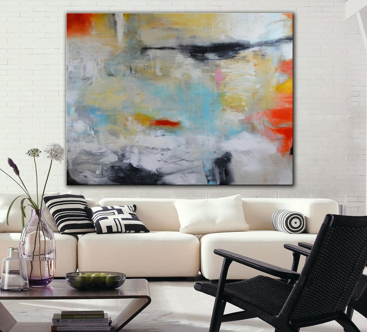 What Goes Around, Comes Around - large abstract painting with white, blue and orange - free shipping for rolled canvas - Image 0