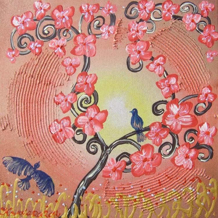 red Cherry blossom and blue bird painting flowers decor 24 original floral art 40x40x2 cm stretched canvas acrylic sakura art textured wall art by artist Ksavera - Image 0