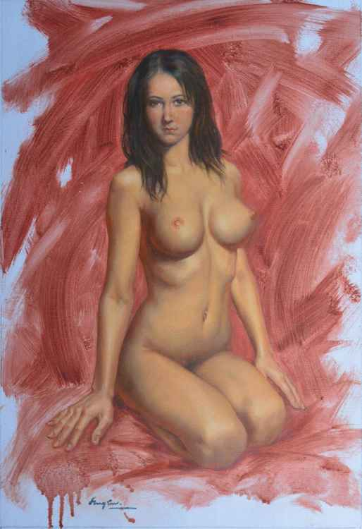 original oil painting art female nude girl naked women on canvas#16-1-25-06
