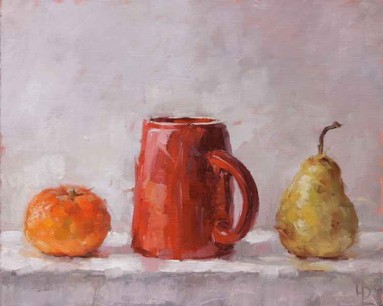 Clementine, Cup and Pear -