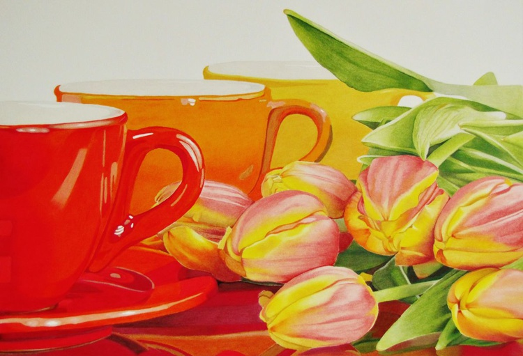 Cups and tulips - Image 0