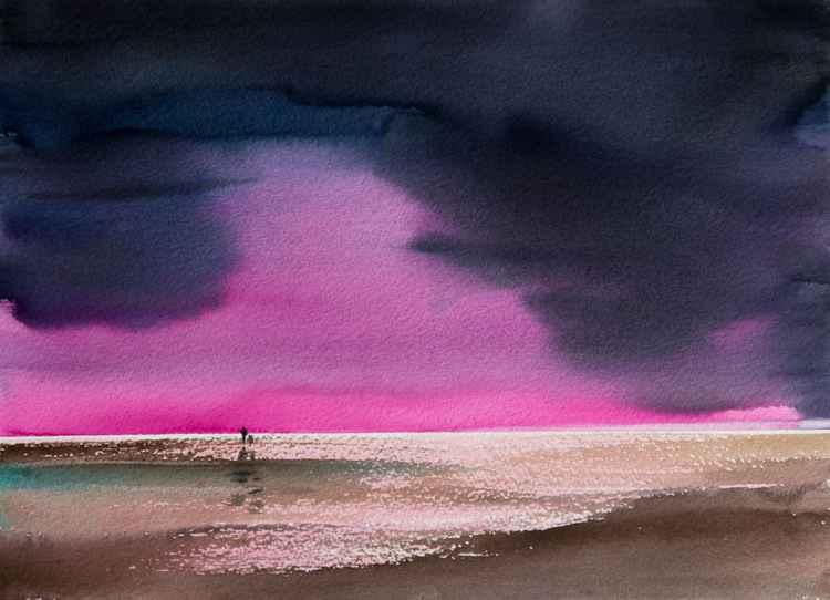 """Red sunset"", original watercolour painting, 15.4""x 11.4""(38.5x28.5cm)"