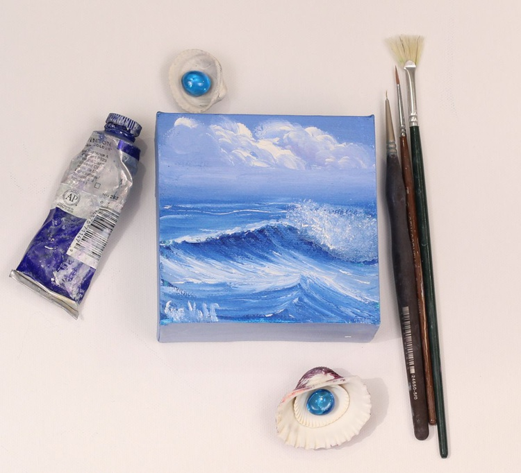 "Ocean Waves XX 4x4"" small seascape oil painting on canvas - Image 0"