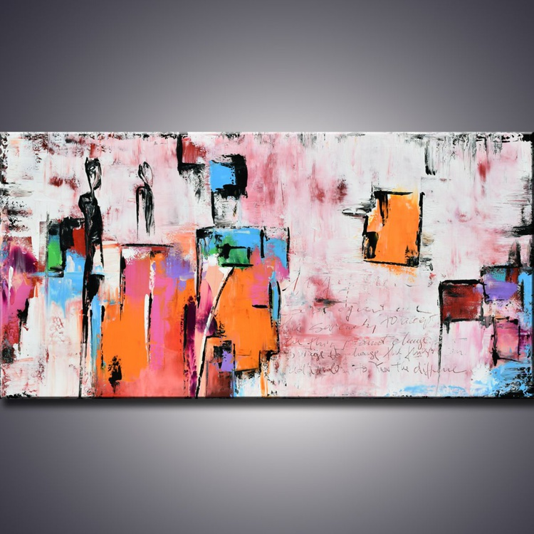 """THE PRAYER"" - 60"" Original Painting , Abstract painting, Pink modern art Large contemporary painting, Orange Canvas wall art, Original Landscape art - Image 0"