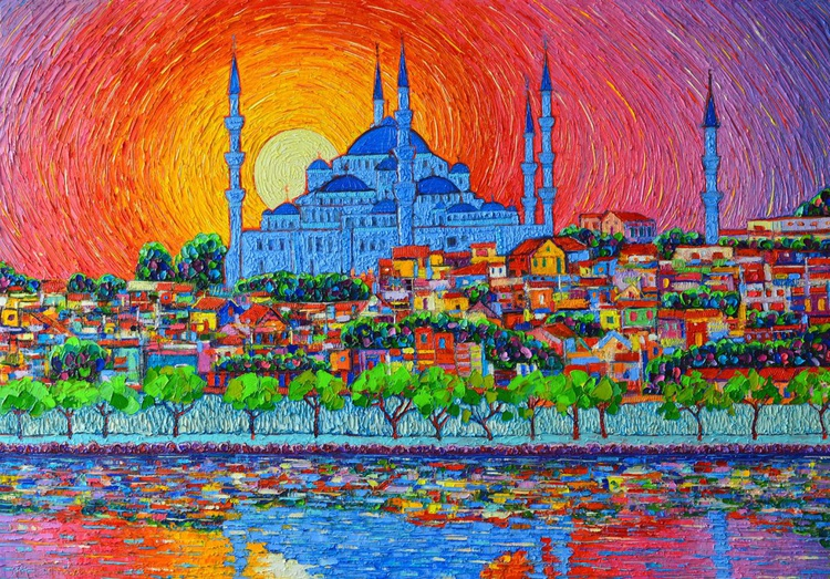Fiery sunset over Blue Mosque in Istanbul Turkey - Image 0