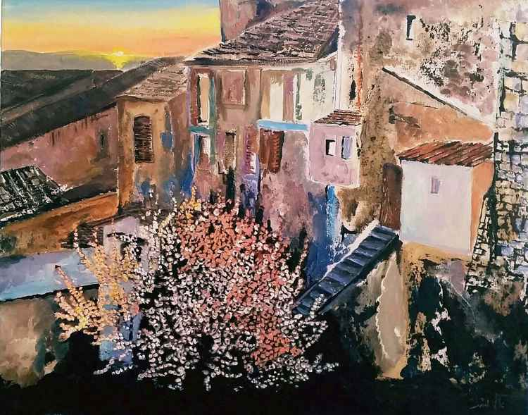 Memories of an ancient village  with  sweet  fragnance of Almond blossom