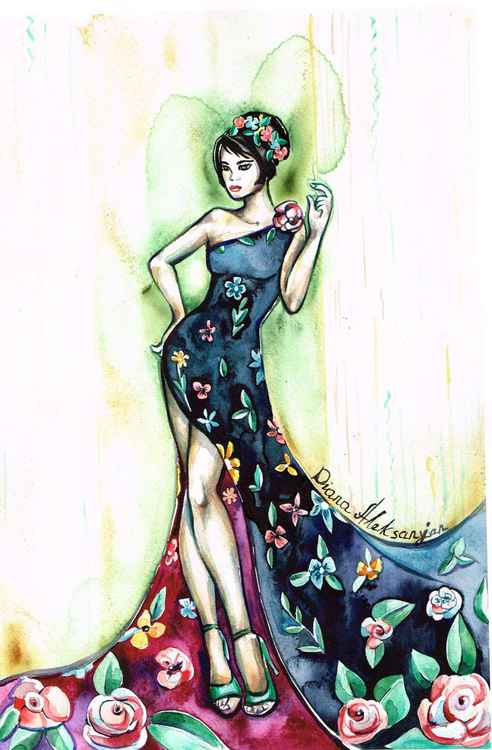 Lady in Indigo, Maroon Dress with Flowers -