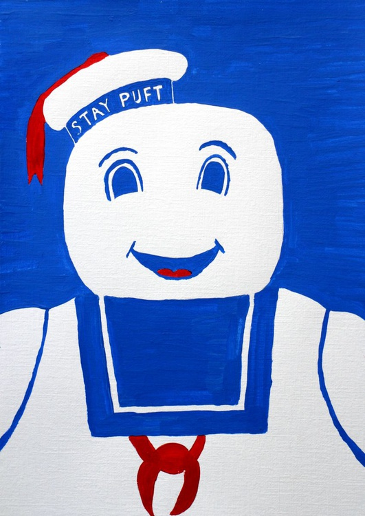 Ghostbusters Stay Puft Marshmallow Man Pop Art Painting On Paper - Image 0