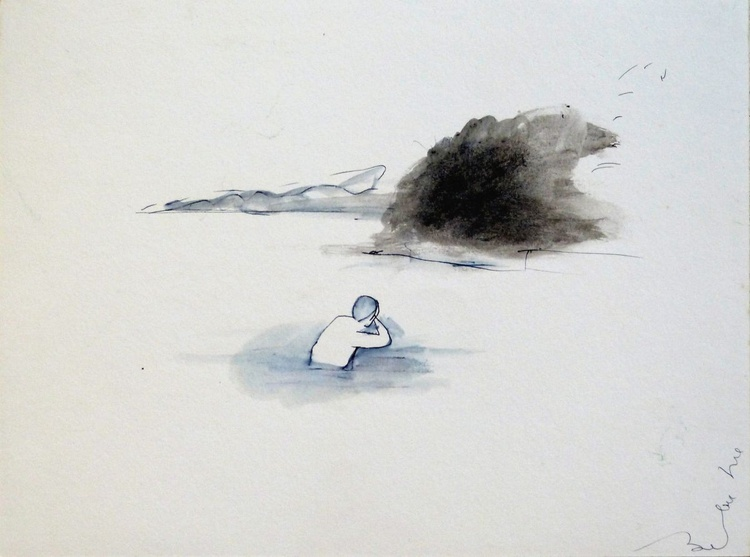 Lonely Swimmer, 24x32 cm - Image 0
