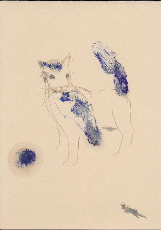 Cat and toys, 21x29 cm - Image 0