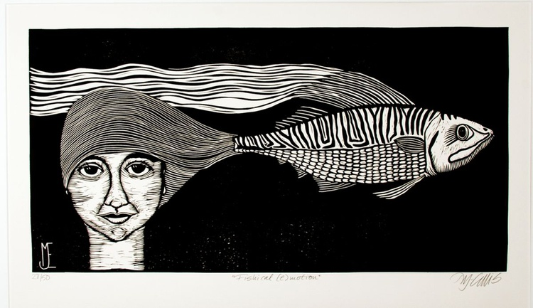 Fishical (e)motion, black and white linocut - Image 0