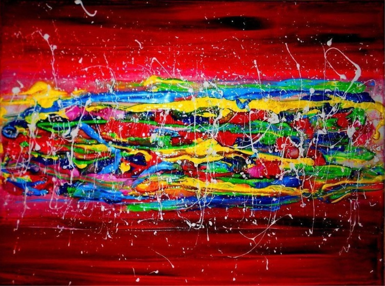 Palette knife Large , XL Abstract , Rainbow showers - Image 0