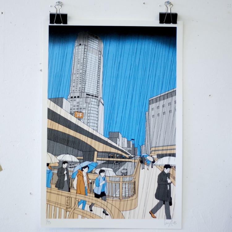 Shibuya in the rain screen print - Image 0
