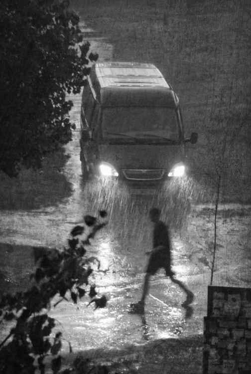Through the rain in the night