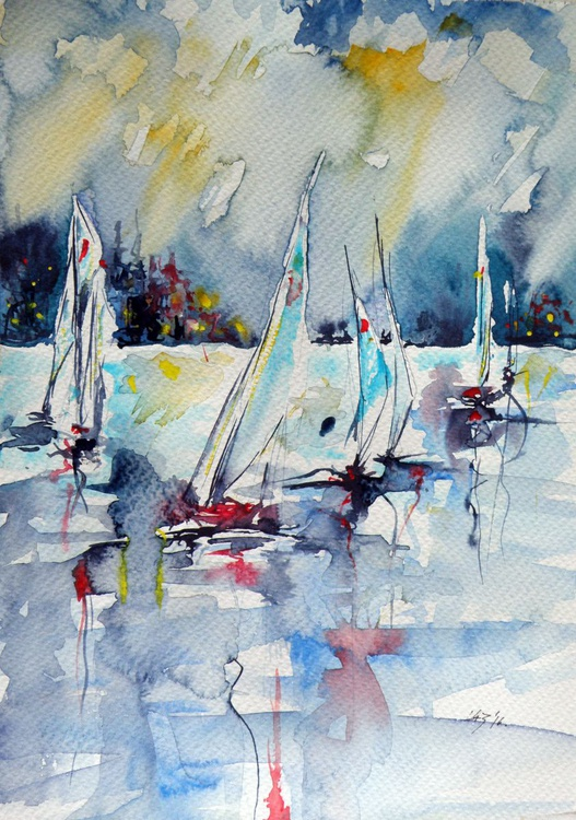 Sailboats on sea - Image 0