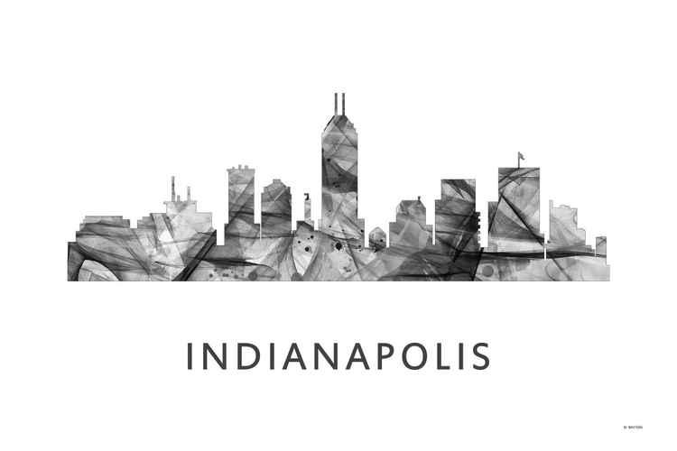 Indianapolis Indiana Skyline WB BW -
