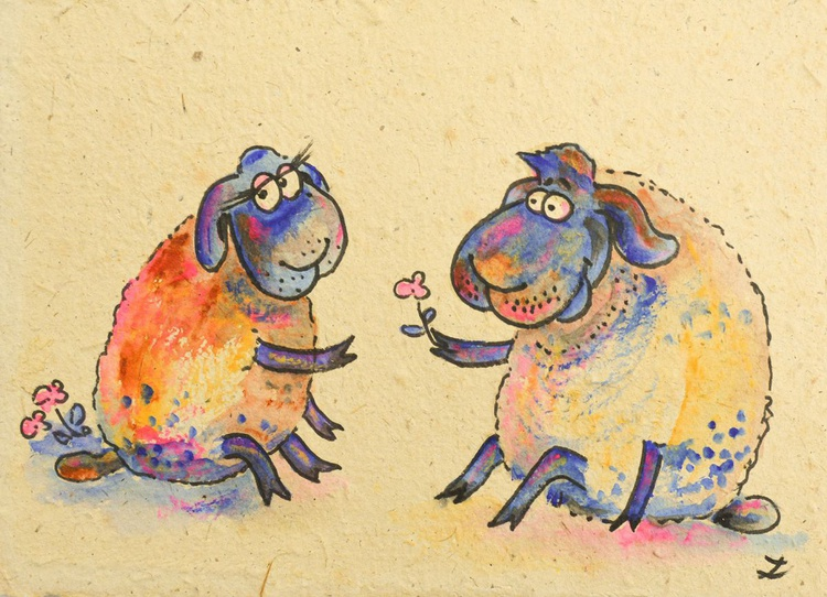 Funny Sheep on a Date. Collectible Series - Image 0