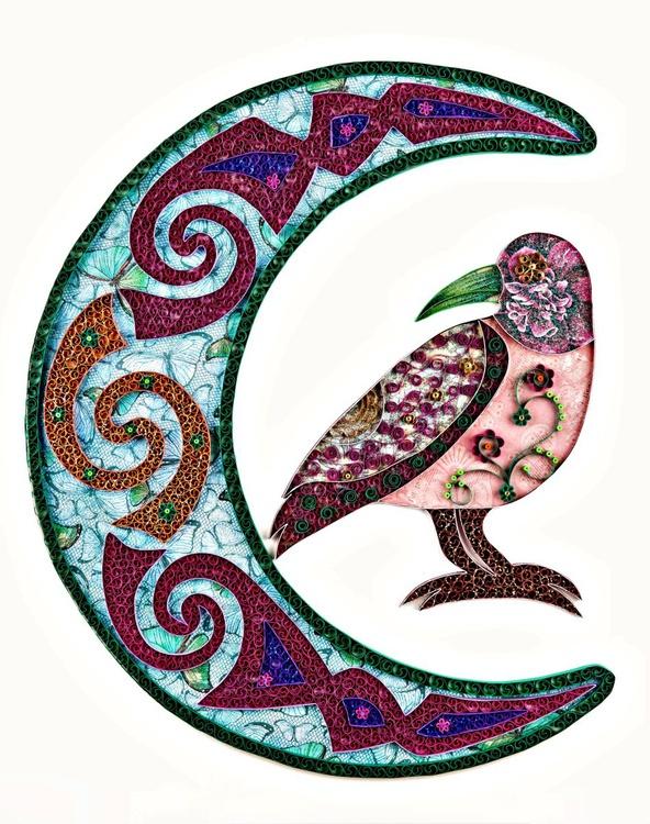 Morrigan, Original Paper Quilling Wall Art - Paper Illustration of a Crow and Moon - Fine Paper Art, Quilling Art , OOAK piece - Image 0