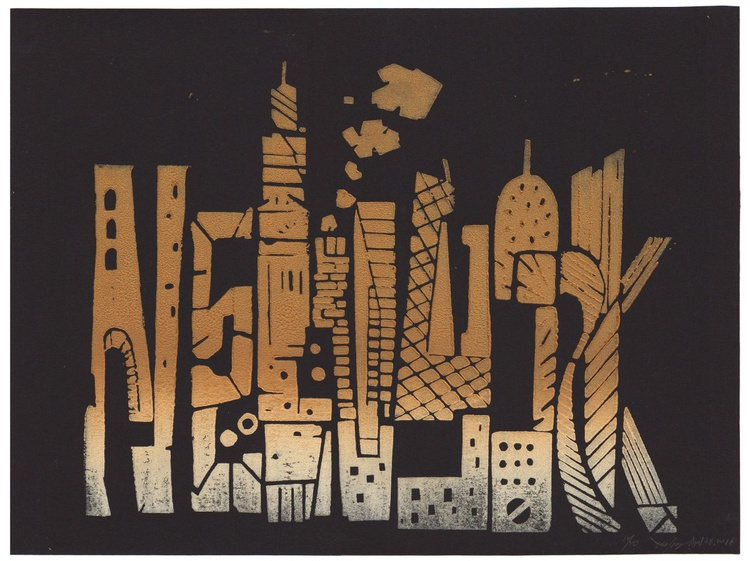 New York Skyline -Text and Tower Color block print, wall art, home decor, building form wood block figure ground hand made print - Image 0