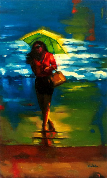 Girl with a yellow umbrella - Image 0