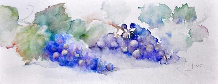 2 BUNCH OF GRAPES original watercolour 50X20CM - Image 0