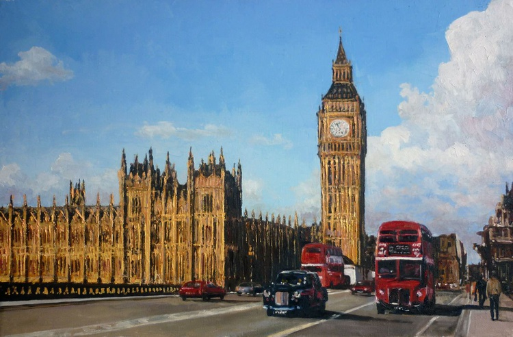 London traffic - double-decker and taxis - Image 0