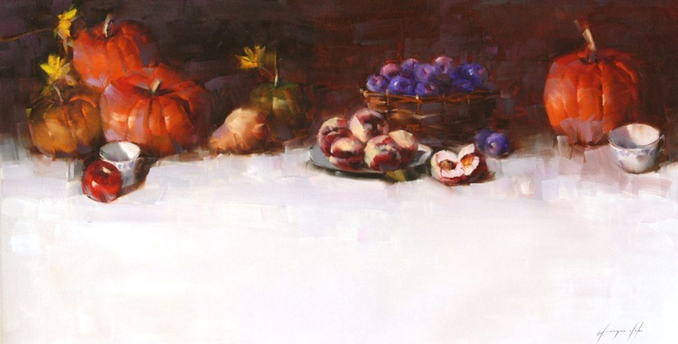 Still  Life with Pumpkins Original oil Painting Large size - Image 0