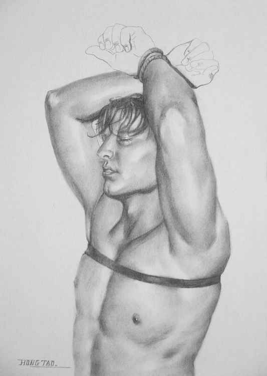 original art drawing charcoal male nude man on paper #16-4-14 -