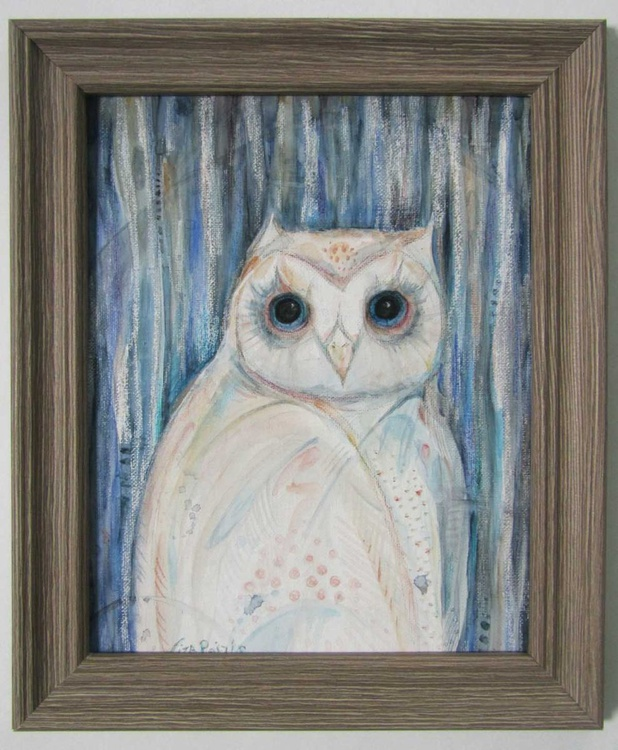 Owl Spirit mixed media original painting framed ready to hang - Image 0