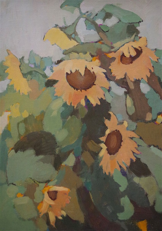 Sunflowers, Original oil painting,  Handmade artwork, One of a kind Signed with Certificate of Authenticity - Image 0