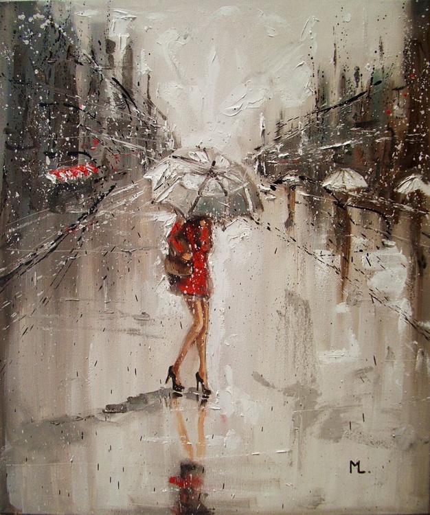 """ SPRING CITY IN RAIN  "" 50x60cm original painting CITY palette knife spring RAIN - Image 0"