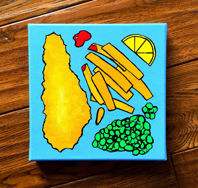 Fish And Chips Pop Art Acrylic Canvas - Image 0