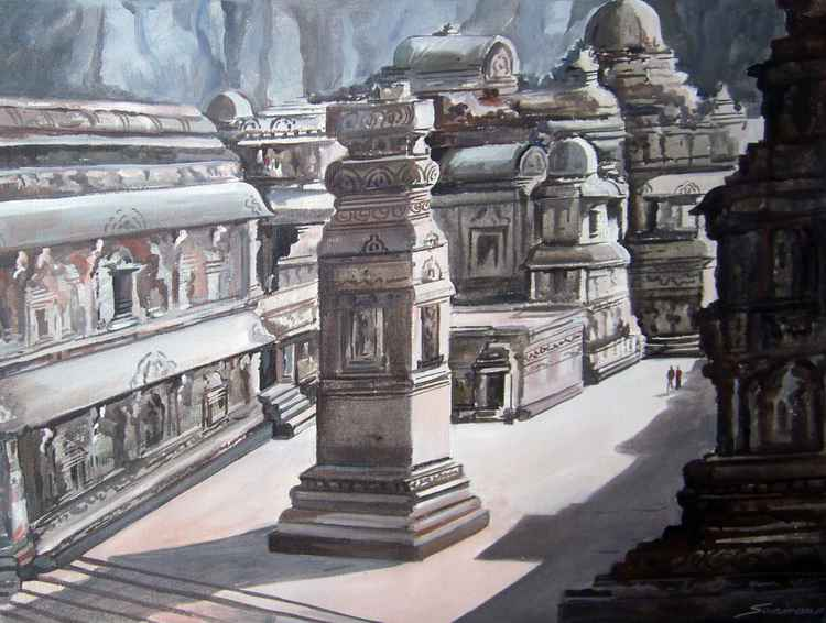 Kailasa temple, Ellora-Acrylic on canvas painting