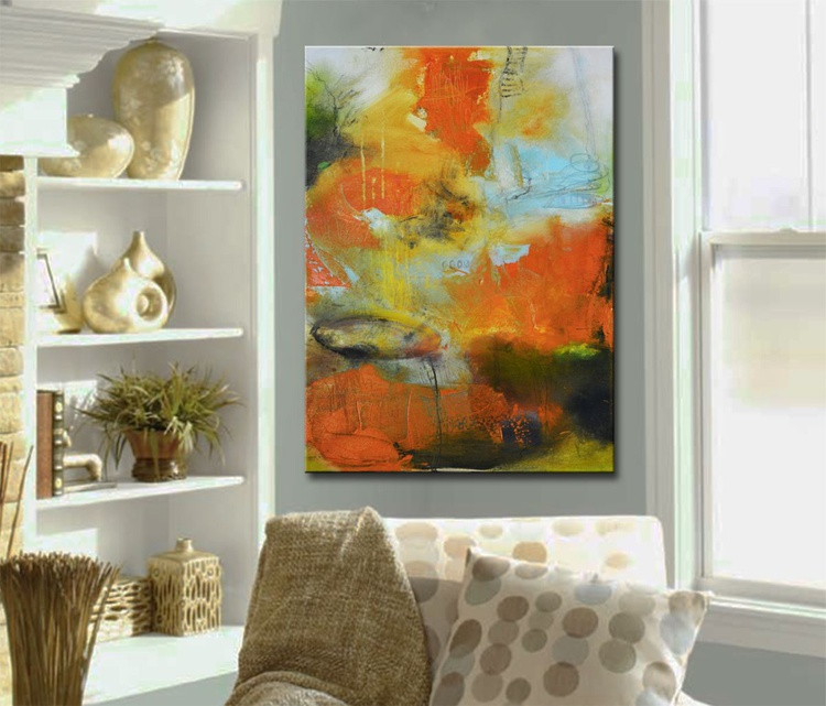 Lovely feeling - Abstract painting, orange red blue painting - Image 0