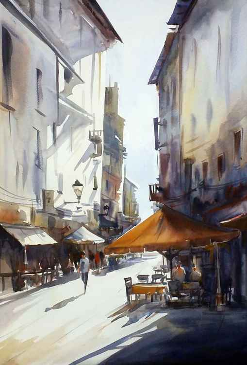 Morning Street & Cafe- Watercolor on Paper