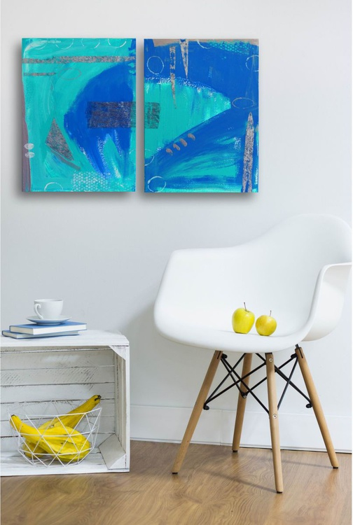 Blue abstract  (Diptych ) - Image 0
