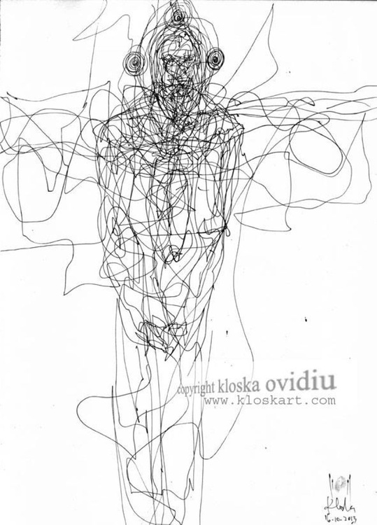 SPONTANE INK DRAWING ANGEL THEME BY MASTER OVIDIU KLOSKA ECLECTIC BIZZARE SPIRITUAL ART - Image 0