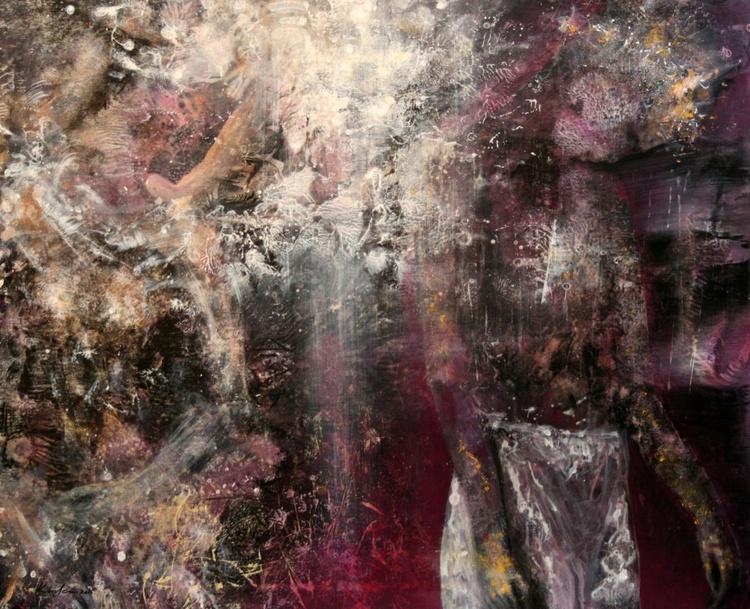 LARGE LOVE COUPLE DIAPHANE NIGHT BODIES ANCESTRAL WEEDING MASTERPIECE SIGNED KLOSKA - Image 0