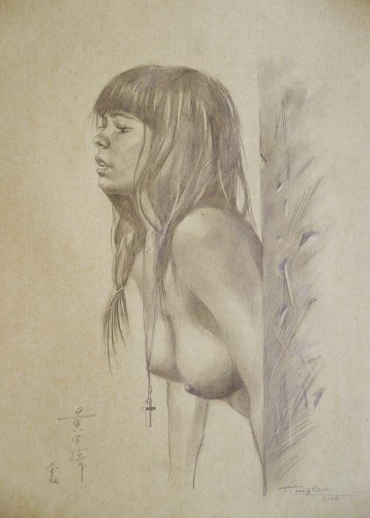 ORIGINAL DRAWING PENCIL  ART NAKED GIRL  ON BROWN PAPER#16-6-29 - Image 0