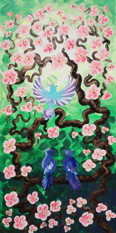 Green Cherry blossom tree and blue birds painting 64 flowers decor original floral art 50x100x2 cm stretched canvas acrylic sakura art wall art by artist Ksavera - Image 0