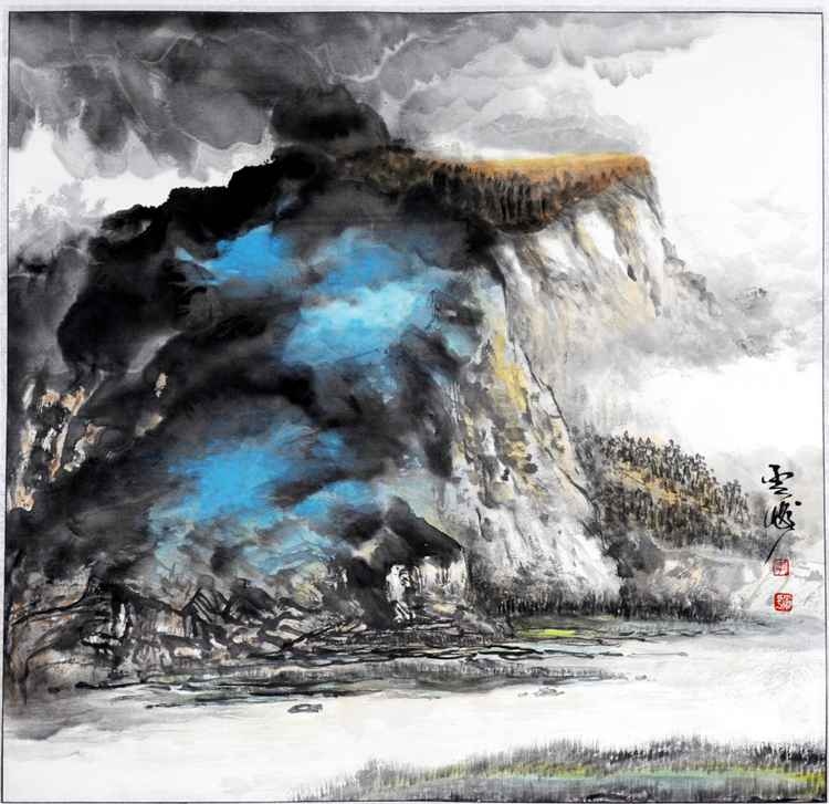 Chinese watercolour Landscape paining, with heavy colour-21 -